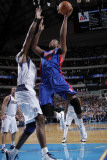 Detroit Pistons v Dallas Mavericks: Greg Monroe and Brendan Haywood Photographic Print by Glenn James