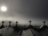 Sun Shining Through Fog on Mausoleums Photographic Print by Jim Richardson