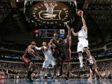 Miami Heat v Dallas Mavericks: Jose Juan Barea, LeBron James and Dwyane Wade Photographic Print by Glenn James