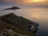 Twilight View of Steep Cliffs at Worm Head on the Gower Peninsula Photographic Print by Jim Richardson
