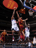 Cleveland Cavaliers  v Philadelphia 76ers: Thaddeus Young and Ryan Hollins Photographic Print by Jesse D. Garrabrant