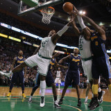 Denver Nuggets v Boston Celtics: Glen Davis, Von Wafer, Gary Forbes and Al Harrington Photographic Print by Elsa .