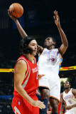 Houston Rockets v Oklahoma City Thunder: Kevin Durant and Luis Scola Photographic Print by Larry W. Smith