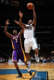 Los Angeles Lakers v Washington Wizards: Trevor Booker and Lamar Odom Photographic Print by  Ned