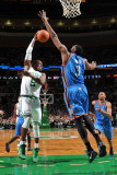 Oklahoma City Thunder v Boston Celtics: Rajon Rondo and D.J. White Photographic Print by Brian Babineau