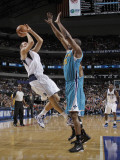 New Orleans Hornets v Dallas Mavericks: Dirk Nowitzki, Didier-Ilunga Mbenga Photographic Print by Danny Bollinger