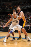 Los Angeles Lakers v Washington Wizards: Yi Jianlian and Pau Gasol Photographic Print by Andrew Bernstein