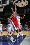 Philadelphia 76ers v New Jersey Nets: Spencer Hawes, Stephen Graham and Derrick Favors Photographic Print by David Dow