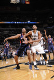 Atlanta Hawks v San Antonio Spurs: Tim Duncan and Jason Collins Photographic Print by D. Clarke Evans