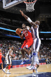 Philadelphia 76ers v New Jersey Nets: Jodie Meeks and Johan Petro Photographic Print by David Dow