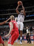 Houston Rockets v Dallas Mavericks: Caron Butler and Chase Budinger Photographic Print by Glenn James