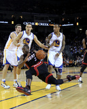Miami Heat v Golden State Warriors: Dwayne Wade, Lou Amundson and Monta Ellis Photographic Print by Ezra Shaw