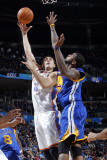 Golden State Warriors v Oklahoma City Thunder: Nenad Krstic and Dorell Wright Photographic Print by Layne Murdoch