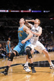 New Orleans Hornets v San Antonio Spurs: Jason Smith and Matt Bonner Photographic Print by D. Clarke Evans