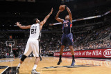 Atlanta Hawks v San Antonio Spurs: Al Horford and Tim Duncan Photographic Print by D. Clarke Evans