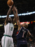 Atlanta Hawks v Boston Celtics: Marquis Daniels and Maurice Evans Photographic Print by  Elsa