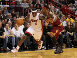 Cleveland Cavaliers  v Miami Heat: LeBron James and Daniel Gibson Photographic Print by Mike Ehrmann