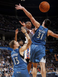 Minnesota Timberwolves v Oklahoma City Thunder: Russell Westbrook, Luke Ridnour and Darko Milicic Photographic Print by Layne Murdoch