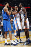 Dallas Mavericks v Oklahoma City Thunder: Thabo Sefolosha, Serge Ibaka and Tyson Chandler Photographic Print by Layne Murdoch