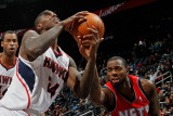 New Jersey Nets v Atlanta Hawks: Damion James and Marvin Williams Photographic Print by Kevin Cox