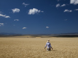A Girl Wearing a Cowboy Hat Stands in a Wheat Field on a Sunny Day Photographic Print by Michael Hanson