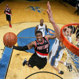 Portland Trail Blazers v Washington Wizards: Wesley Matthews and JaVale McGee Photographic Print by Ned Dishman