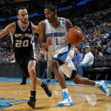 San Antonio Spurs v New Orleans Hornets: Trevor Ariza and Manu Ginobili Photographic Print by Layne Murdoch