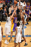 Los Angeles Lakers v Washington Wizards: Andrew Bynum, JaVale McGee and Hilton Armstrong Photographic Print by Andrew Bernstein