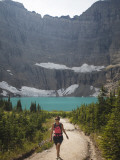 Girl Enjoys a Hike to Iceberg Lake Trail in Glacier Np, Mt Photographic Print by Michael Hanson
