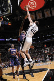 Atlanta Hawks v San Antonio Spurs: Manu Ginobili and Marvins Williams Photographic Print by D. Clarke Evans