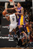 Los Angeles Lakers v Washington Wizards: Gilbert Arenas and Matt Barnes Photographic Print by Andrew Bernstein