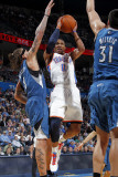 Minnesota Timberwolves v Oklahoma City Thunder: Russell Westbrook, Michael Beasley and Darko Milici Photographic Print by Layne Murdoch
