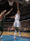 Milwaukee Bucks v Dallas Mavericks: Dirk Nowitzki and Andrew Bogut Photographic Print by Danny Bollinger