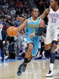 New Orleans Hornets v Oklahoma City Thunder: Chris Paul and Kevin Durant Fotografisk tryk af Layne Murdoch