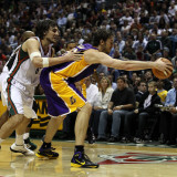 Los Angeles Lakers v Milwaukee Bucks: Pau Gasol and Andrew Bogut Photographic Print by Jonathan Daniel