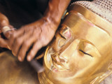 A Wood Carver Sculpts a Buddha Statue Photographic Print by Alison Wright