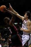 Miami Heat v Milwaukee Bucks: Dwyane Wade and Andrew Bogut Photographic Print by Jonathan Daniel