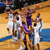Los Angeles Lakers v Washington Wizards: Kobe Bryant, Nick Young and JaVale McGee Photographic Print by Ned Dishman