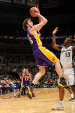 Los Angeles Lakers v Washington Wizards: Pau Gasol and Kevin Seraphin Photographic Print by Andrew Bernstein