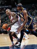 Indiana Pacers v Atlanta Hawks: Jamal Crawford and James Posey Fotografisk tryk af Kevin Cox