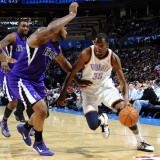 Sacramento Kings v Oklahoma City Thunder: Kevin Durant and DeMarcus Cousins Photographic Print by Larry W. Smith