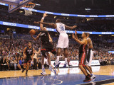 Miami Heat v Orlando Magic: Dwyane Wade and Brandon Bass Photographic Print by Mike Ehrmann