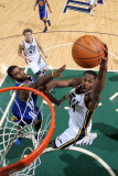 Golden State Warriors v Utah Jazz: C.J. Miles and Dorell Wright Photographic Print by  Melissa