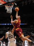 Cleveland Cavaliers  v San Antonio Spurs: Ryan Hollins and Manu Ginobili Photographic Print by D. Clarke Evans