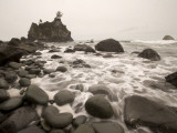 Shown are Scenes of Waves, Surf and Rocky Shoreline at Hidden Beach Photographic Print by Phil Schermeister
