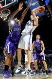 Sacramento Kings v Oklahoma City Thunder: Nick Collison and DeMarcus Cousins Photographic Print by Larry W. Smith