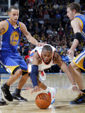 Golden State Warriors v Oklahoma City Thunder: Russell Westbrook and Stephen Curry Photographic Print by Layne Murdoch