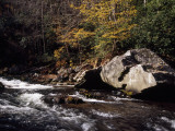 Water Rushing Through an Autumn Scene in the Nantahala River Gorge Photographic Print by Raymond Gehman