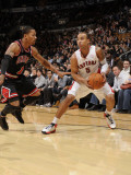 Chicago Bulls v Toronto Raptors: Derrick Rose and Jerryd Bayless Photographic Print by Ron Turenne