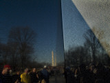 Visitors and Washington Monument Reflected in the Vietnam Memorial, Photographic Print